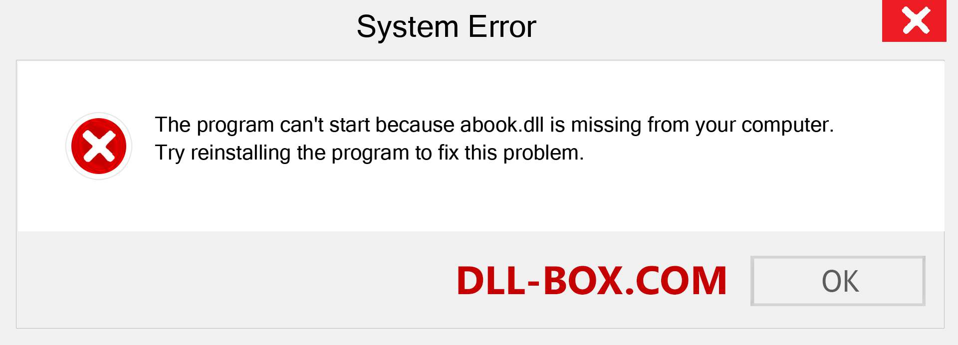 abook.dll file is missing?. Download for Windows 7, 8, 10 - Fix  abook dll Missing Error on Windows, photos, images